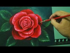 Acrylic Painting Lesson - Red Rose by JM Lisondra - YouTube