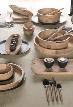 Landelijke stijl houten decoratie servies