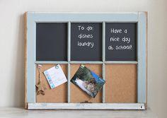 Vintage repurposed window chalkboard and cork board