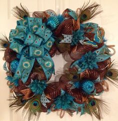 Peacock decomesh wreath  by CreativeTwists1 on Etsy, $50.00