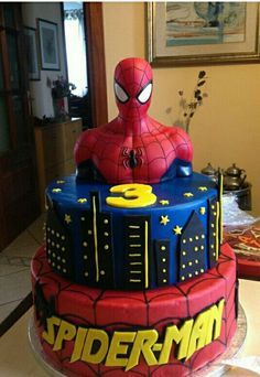 Spiderman Cake Ideas for Little Super Heroes - Novelty Birthday Cakes Spiderman Cake Topper, Spiderman Birthday Cake, Birthday Cake For Him, Spiderman Theme, Superhero Theme Party, Batman Cakes, Superhero Cake, 3rd Birthday, Birthday Cakes