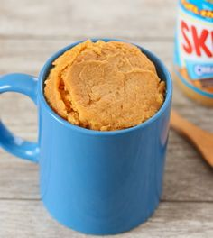 Peanut Butter Mug Cake (Eggless)  4 tbsp all-purpose flour 1/4 tsp baking powder 4 tsp granulated sugar 4 tbsp fat-free milk 3 tbsp peanut butter