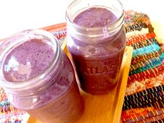 Easy blueberry & banana smoothie! Super delicious! (use coconut or almond milk instead of soy)
