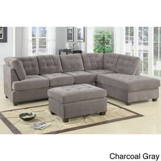 Odessa Waffle Suede Reversible Sectional Sofa with Ottoman - 16247976 - Overstock - Big Discounts on Sectional Sofas - Mobile