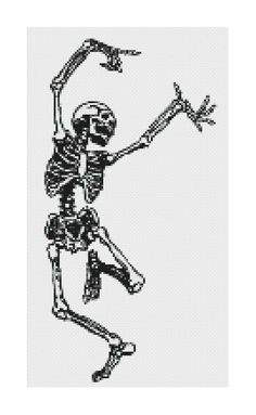 Dancing Skeleton cross stitch pattern - old anatomy illustration [PDF] INSTANT…