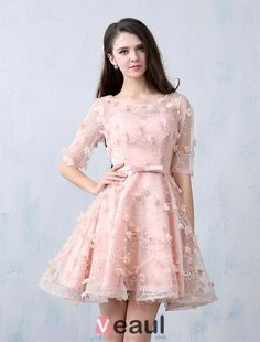 Schöne Partykleider 2016 U-ausschnitt Perle Rosa Spitzen Tüll Mit Blumen Kurzes Kleid