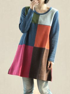 Spell color dress Cotton Women Long shirt loose cotton T by MaLieb, $83.00