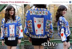 ON SALE RARE Vintage 80's Faux Moschino Couture Ace of Hearts Playing Cards Bomber Jacket S M L by shopEBV, $250.00