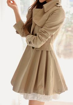 Flared Double-Breasted Trench Coat - Shoulder button tabs