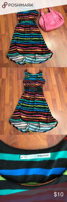 Colorful Sleeveless Knit Dress • M Gorgeous dress highlighted with a colorful variety of stripes on a black background. Bodice is self-lined. Purchased new at Maurices and worn at most a handful of times by my daughter. Excellent used condition (cold gentle washed and hung dry to preserve colors). No pilling or pulls. Please see pics for fabric and measurements. Consider bundling with the other priced-to-sell dresses in my closet for a 25% discount. Thank You! Maurices Dresses Asymmetrical