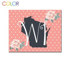 Wisconsin State Printable ArtPink and White by ColorPrintables, $5.00