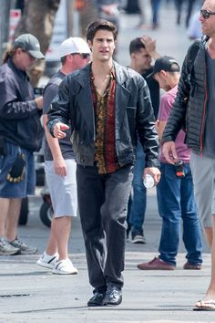 Darren Criss on the set of 'Versace: American Crime Story' on June, 6th.