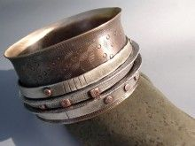 Bronze Bangle Bracelet with 5 Floating Sterling and Copper Bangles