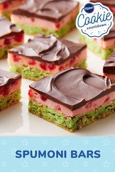 A pistachio cookie base, creamy cherry filling and heavenly chocolate topping make this festive layered bar a truly delicious twist on Italian spumoni. It looks like it takes forever to make, but is way easier than you think—promise!