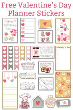 set of Valentine's day stickers in shades of pink, green, and yellow. There is a bicycle sticker with balloons that is the inspiration for the set. The rest of the stickers have a lot of hearts. Valentine's Day Printables, Printable Planner Stickers, Calendar Stickers, Printable Calendars, Free Planner, Happy Planner, Planner Ideas, Planner Decorating, Journal Stickers