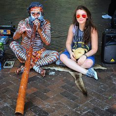 At Sydney Harbour. As part of the Sydney Summer Festival Koomurri was there to delight passers by but mainly me!  Koomurri is an inspiring Australian Aboriginal entertainment and educational troupe find out more about them at  www.koomurri.com  #wonderful #world #aboriginal #australia #kangoroo #skin #street #music #art #beautifulday #ilovemyjob #ilovetraveling #sydney #summer #awesome #feeling #grateful #simplelife #wishyouwerehere #coolinstrument by deliaflopix