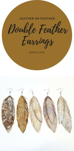 Double Feather Earrings - Bohemian Earrings, Gold Leather, Boho Bride, Metallic Leather, Bridal Earrings, Boho, Large Earrings, Feather i love these! They would take an outfit from drab to fab! #ad#feather#leather#earrings