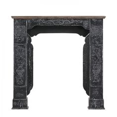 Cornice per camino Baleos - Parzialmente in legno massello di abete - Abete/Nero vintage