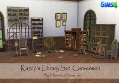 TS4: Katvip's Library Set Conversion - History Lover's Sims Blog