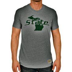 Original Retro Brand Michigan State Spartans Heather Gray Vintage State  Tri-Blend T-Shirt