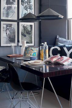 The Bald Baker Cy Yñares' Loft is A Monochrome Dream! Mid-century Modern, Contemporary, Man Cave, Office Desk, Corner Desk, Monochrome, Condo, Loft, Industrial