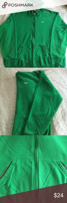 Men's Green Nike Zip Hoodie This kelly green Nike zip front hoodie is in great shape. These hoodies wear beautifully and last forever. Only selling it because my son didn't take it with him back to college so I decided if he wanted it he would have taken it! He won't miss it.  Smoke and pet free! Make an offer!💕💕 Nike Jackets & Coats Performance Jackets