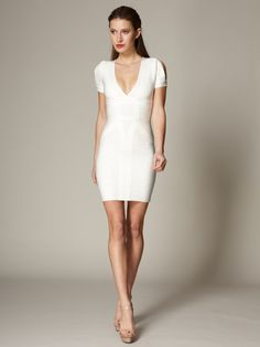 Knit Wynn Slit Sleeve Dress by Herve Leger