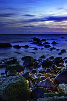 ✯ The last light of the day glows on the rocks at Montauk Point, New York