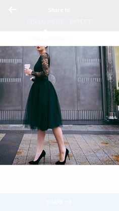 Black shirt with lace sleeves + black tulle skirt