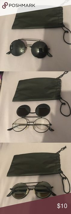 Lady Gaga John Lennon black round sunglasses Unisex Summer black sunglasses round clear lenses that can flip up • mickey mouse john lennon lady gaga glasses. Comes with pouche.  Happy to answer any questions 😊 Urban Outfitters Accessories Glasses
