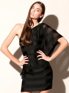 Queen of Sogo One Shoulder Dress  This sexy, one sleeved black satin dress by Amorette shows off just the right amount of skin. Features sheer stripes and structured bodice with a single, flowy batwing sleeve paired with a short hemline.  http://www.goshcelebrityfashion.com.au