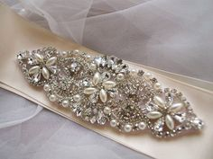 rhinestone bead Applique, crystal applique, bridal Sash applique, wedding sash applique