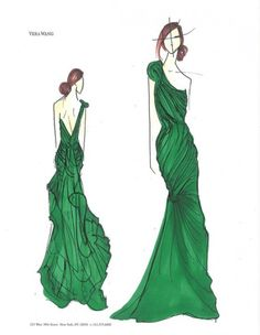 Con Bocetos De Asimétrico Color Vera Wang Foto Esmeralda Facebook Verde En Escote Vestido Fiesta wTqfY6w