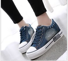 Spring/summer single shoes canvas shoes female students increased thick bottom denim shoes casual women's cloth shoes