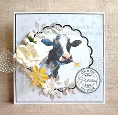 Katrina's Crafting Blog: Using Daisy the Cow, another of the new watercolour digis