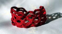 red crochet unique bracelet Handmade Brancelet by ViktoriaCrochet