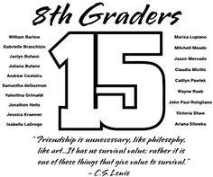 8th Grade Gradution T-Shirt Design (IZA Design can change the year)- Block Year (clas-449r5)