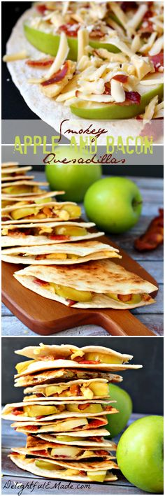 Smokey Apple and Bacon Quesadillas - Smoked gouda, crisp bacon and sweet, tart granny smith apples come together for the perfect lunch, snack or breakfast. Quick, easy and delicious! Bacon Recipes, Apple Recipes, Fall Recipes, Mexican Food Recipes, Appetizer Recipes, Snack Recipes, Cooking Recipes, Appetizers, Quesadillas