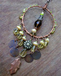 Autumn Sunshine Gypsy Chandelier Earrings, Yellow, Hoop, Copper, Bohemian Jewelry, stoneandbone