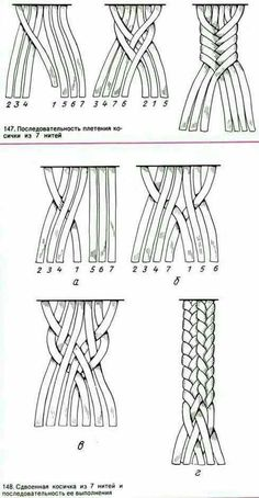 Macrame - seven strand braid by barbara billiard 7 by jean Bracelet Crafts, Macrame Projects, Macrame Tutorial, Macrame Patterns, Crochet Patterns, Micro Macrame, Macrame Jewelry, Bracelet Patterns, Leather Craft