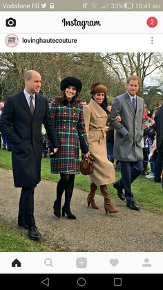 a group of people posing for a picture: Prince William, Princess Kate, Meghan Markle and Prince Harry at Sandringham on Christmas Day Prince Harry And Megan, Prince William And Kate, Harry And Meghan, William Kate, Prince Charles, Prince Edward, Prince Philip, Princesa Kate, Estilo Real