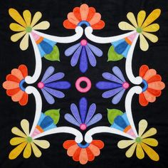 Hand-Painted Mexican Talavera Design on Wood of set of of 9 designs) by on Etsy Quilt Block Patterns, Applique Patterns, Applique Quilts, Applique Designs, Embroidery Applique, Quilting Designs, Quilt Blocks, Applique Wall Hanging, Mexican Pattern