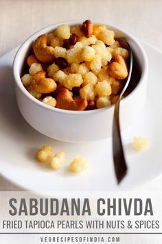 Sabudana chiwda is a snack recipe, perfect during Navratri fasting! Sabudana or tapioca pearls are used as the main ingredient, but you need a special type of tapioca pearl. Nylon sabudana pearls are needed, they are larger than normal and are the perfect size for this recipe. This delicious fried snack is perfect for after school snacks or when taking a road trip! Try it today! #sabudanachiwada #snacks #fastingfood #Indianfood #vegan Easy Appetizer Recipes, Veggie Recipes, Indian Food Recipes, Vegetarian Recipes, Snack Recipes, Cooking Recipes, Indian Foods, Veggie Food, Cooking Tips