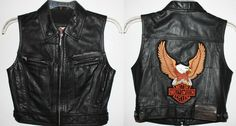 Harley leather vest for women | Harley Davidson Leather Vest Womens XS Biker Motorcycle Embroidered L ...