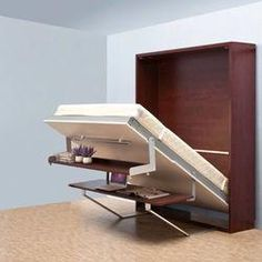 Space saving wooden murphy bed verticle hidden wall bed double murphy folding bed with bookcase and desk Cama Murphy, Murphy Bed Desk, Murphy Bed Plans, Diy Murphy Bed, Hidden Wall Bed, Murphy-bett Ikea, Modern Murphy Beds, Bed Images, Folding Beds