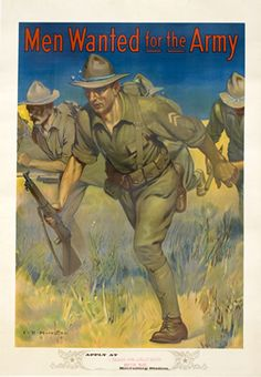 I.B. Hazelton poster: Men Wanted for the Army (advancing soldiers)