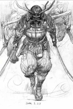 I simply love the designs, lines, and depth. This is a fantastic choice if you would like a Samurai Drawing, Samurai Artwork, Japanese Tattoo Art, Japanese Art, Japanese Warrior Tattoo, Japanese Dragon, Art And Illustration, Botanical Illustration, Samurai Warrior Tattoo