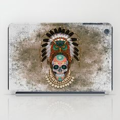 indian native Owl sugar Skull iPad Case #accessories #case #ipad #tablet  #thedayofthedead #mexico #sugarskull #mexicoskull #horror #pattern #love #popart
