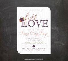 Bridal Shower Invitation - Personalized DIY PRINTABLE Digital Design - Fall In Love