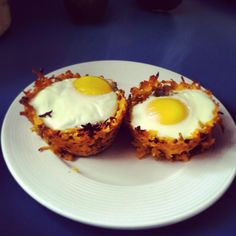 use a cheese grater to shred a few chunks of sweet potato. Grease a muffin tin with coconut oil. Mush the potato shreds into the tin, going up the sides. Slice avocado and place in the potato cup. Add salsa on top of the avocado. Crack an egg in the potato cup. Bake at 400 degrees for 20-30 minutes, depending on how you like your eggs. Comes out nice with red potatoes too.